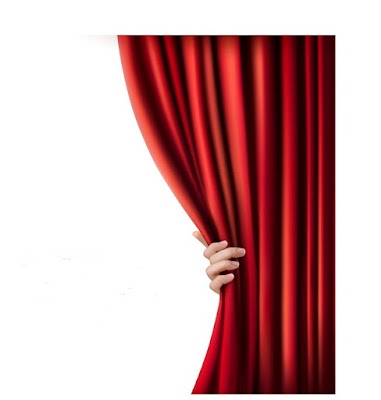 A hand pulls aside a curtain from behind