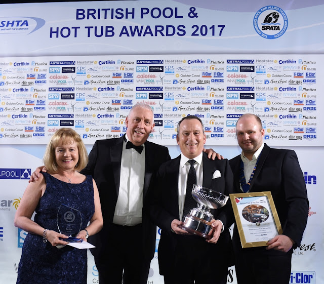 Craig & Gill Trusson of Endless Pools' UK distributor Home Counties Pools & Hot Tubs with their two 2017 British Pool & Hot Tub Awards