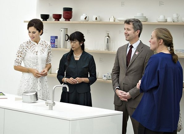 Crown Princess Mary wore Temperley London Berry Lace Neck-Tie Dress. visited Kenroku-en Park in Kanazawa