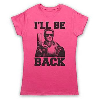 """I'll be Back"" Arnie Pink Ladies Tee Shurt"