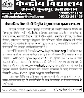 KV Phulpur Recruitment 2018 42 TGT PGT, Primary Teachers