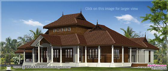 Kerala traditional villa right side view