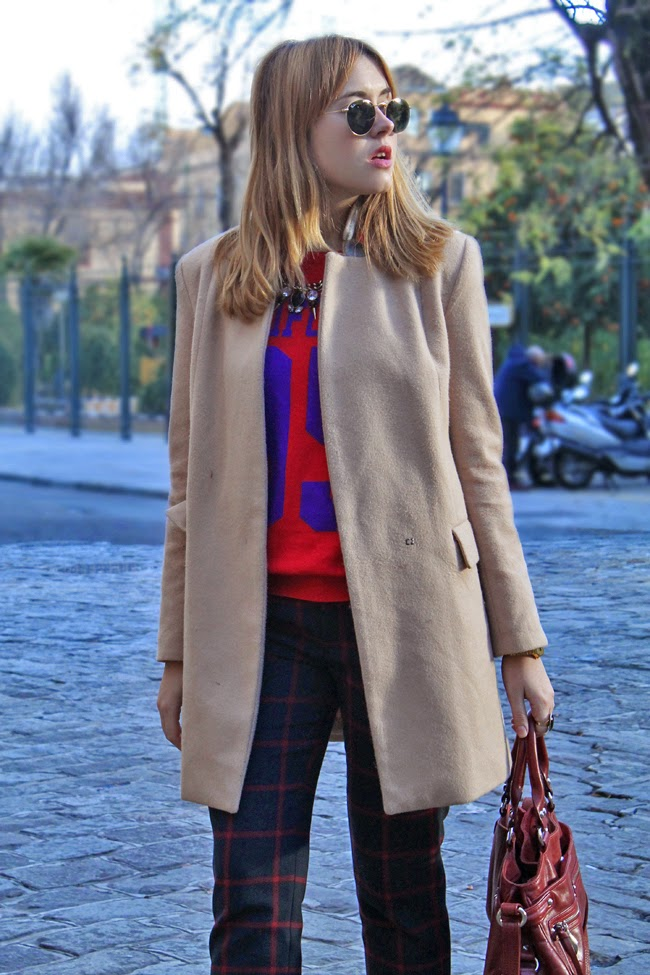 Camel coat, plaid pants
