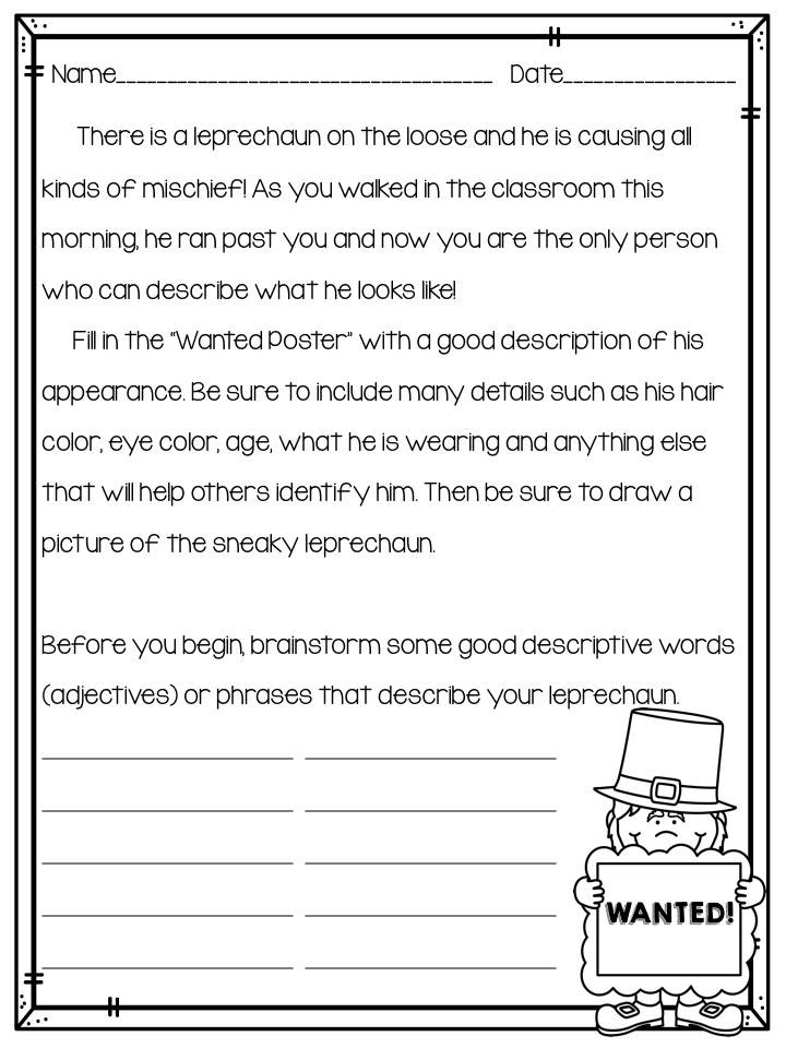 classroom bies too leprechaun descriptive writing activity they can first illustrate and then write the description of the leprechaun using the printable below