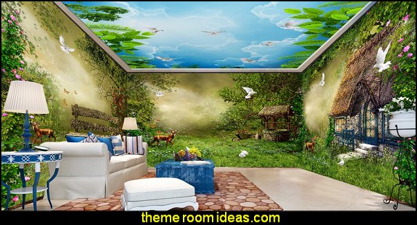 Fantasy fairy forest hut wall mural wallpapers