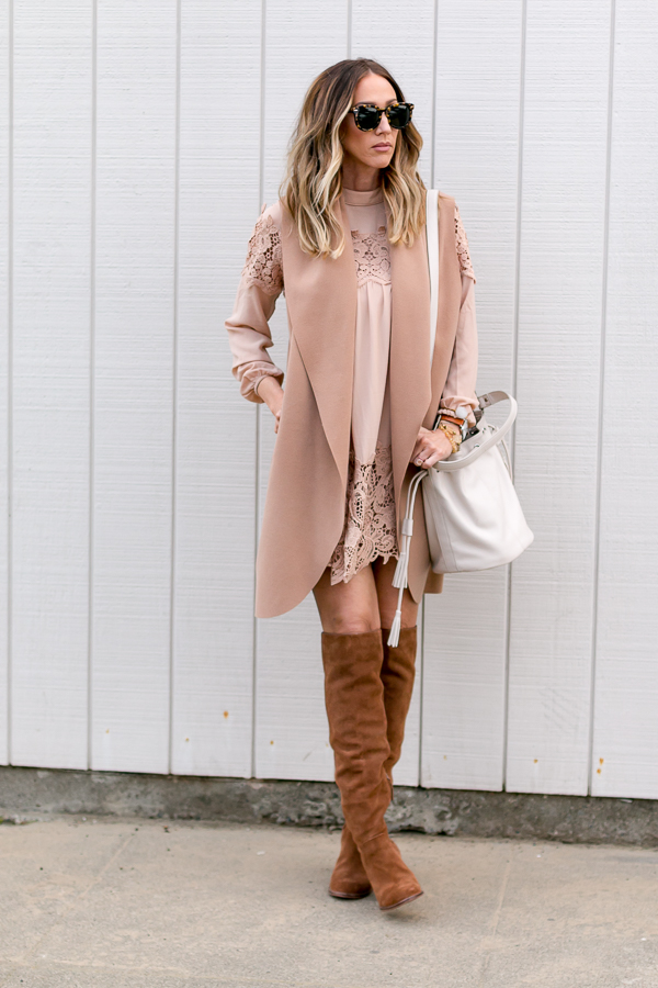 parlor girl tan long vest