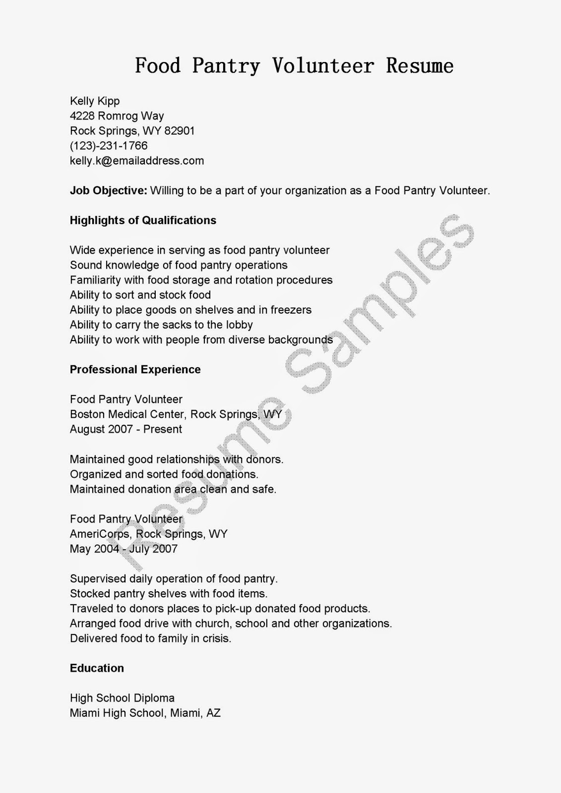 High School Diploma Resume Sample