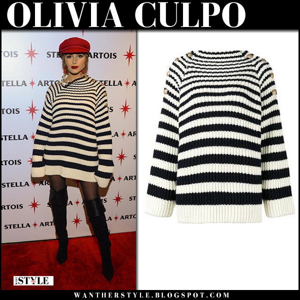 Olivia Culpo in black and white striped knit sweater alberta ferretti and black boots knitwear winter fashion november 8 2017 red carpet
