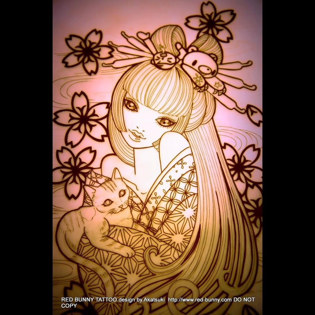 タトゥー pin up girl tattoo ピンナップガール geisha girl