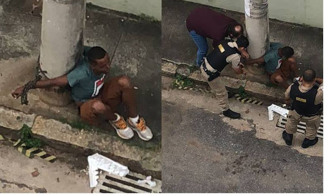 Moradores amarram em poste suspeito de tentativa de roubo