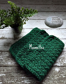 Green Handmade Cotton Dish Cloths