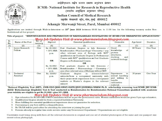 Walk-In Interviews for JRF / Technical Assistant Posts on 25th June, 2018 @ ICMR - National Institute for Research in Reproductive Health
