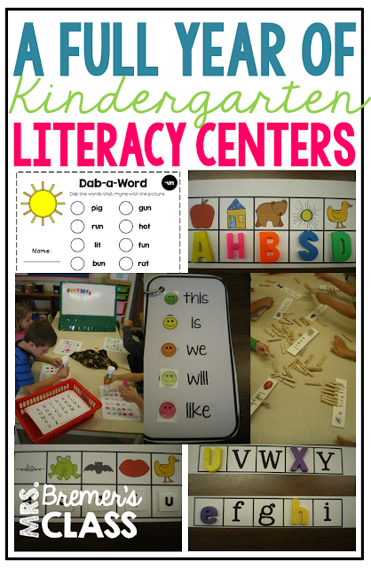 A full year of Kindergarten Literacy Centers, spiraled through 5 domains of reading, sight words and word work, alphabet learning with phonics and phonemic awareness activities, listening to reading, and writing. Packed with fun ideas and hands on activities that will cover your entire year of literacy centers. #kindergarten #literacy #literacycenters #kindergartencenters #sightwords #wordwork #alphabet #phonics #phonemicawareness #reading #listentoreading #daily5 #centers #writing
