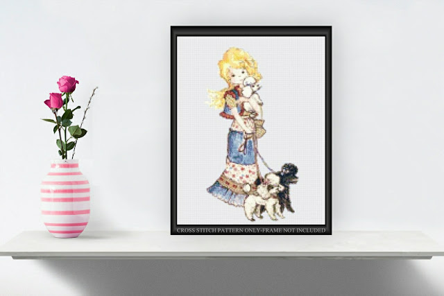 Printable Girl with Poodles Cross Stitch Pattern
