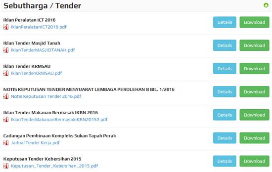 Senarai Tender Kerajaan Malaysia 2016
