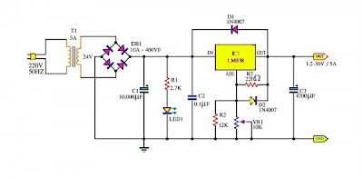 Adjustable Power Supply 1.2 – 30V 5A using LM338
