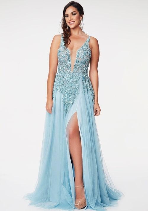 vestido de festa longo azul claro com fenda