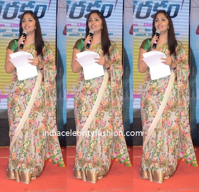 Anchor Jhansi in Floral Saree at Eedo rakam aado rakam success meet