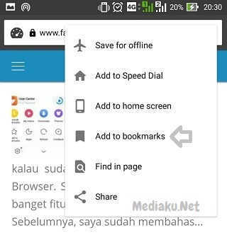 Cara Bookmark Halaman Di Opera Mini