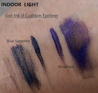Got Ink'd cushion liquid eyeliner STILA comparison swatches INDOOR LIGHT Blue Sapphire Amethyst Black