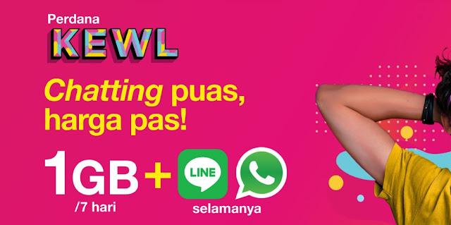 Paket Tri KEWL Gratis Kuota WhatsApp & Line Selamanya