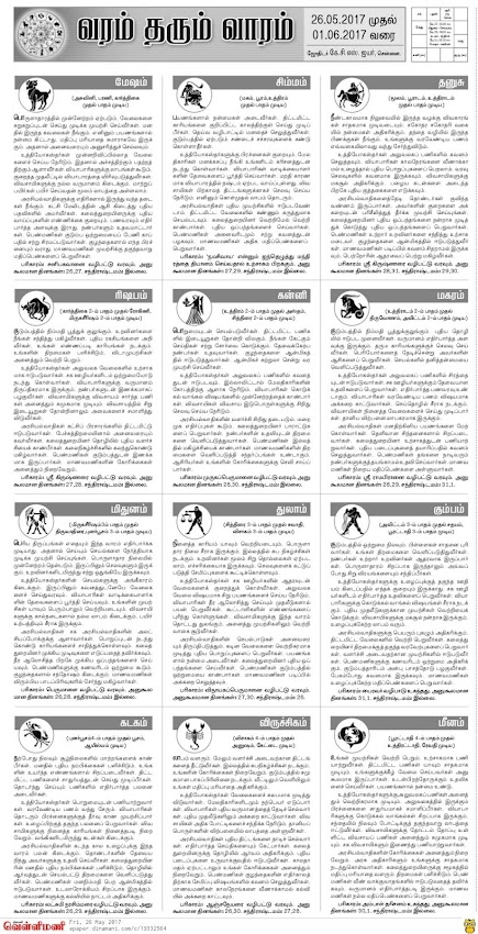 Dinamani Newspaper Weekly Rasi Palan