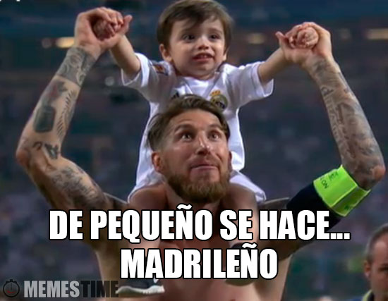 Meme Sérgio Ramos na Final da Champions – De Pequeño se hace Madrileño