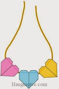 Bước 9: Hoàn thành cách xêp mặt dây chuyền hình trái tim bằng giấy theo phong cách origami.