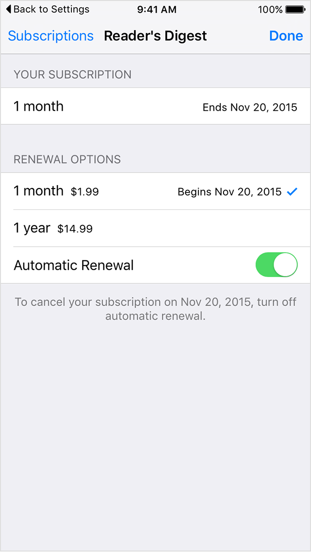 Turn off auto renewal itunes