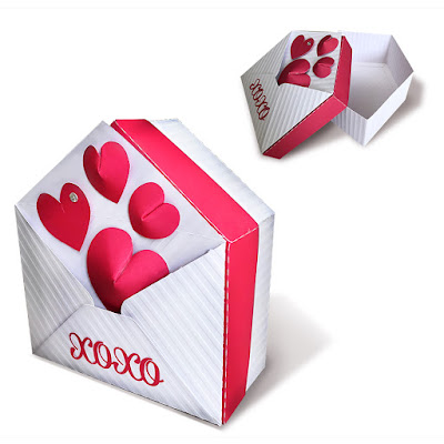 DIY envelope shaped box with 3D hearts
