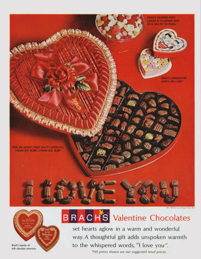 Old ads, Valentine's Day, Chocolates, Candy