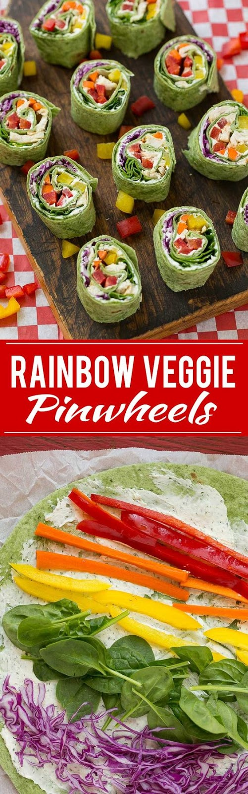 Rainbow veggie pinwheels are made with homemade ranch spread and a variety of fresh veggies for a colorful and healthy lunch, snack or appetizer.