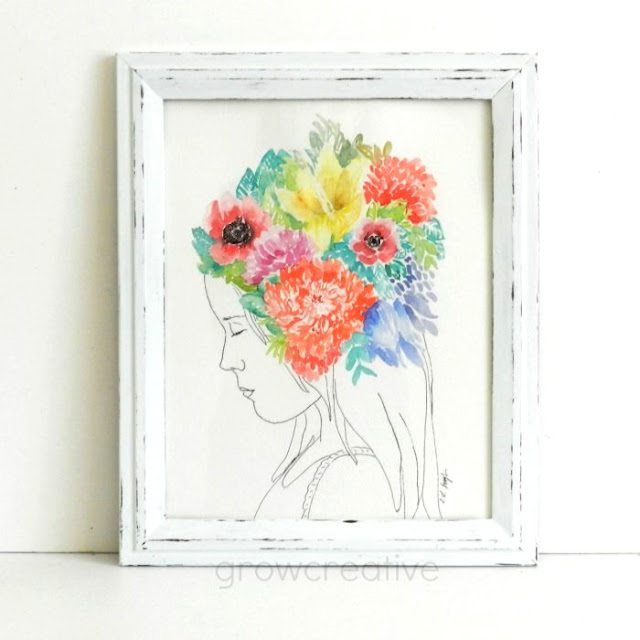 Original Watercolor and Ink Girl with Floral Headdress Painting by Elise Engh: growcreative