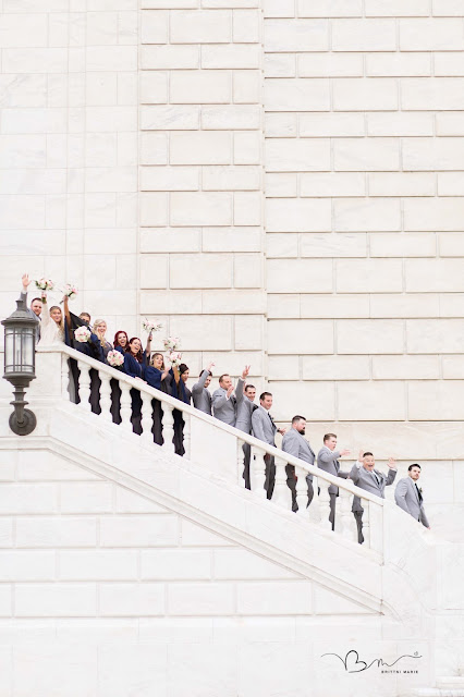 bridal party on steps at DIA