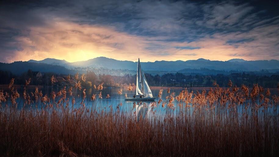 Boat, Lake, Sunrise, Scenery, Nature, 4K, #6.974