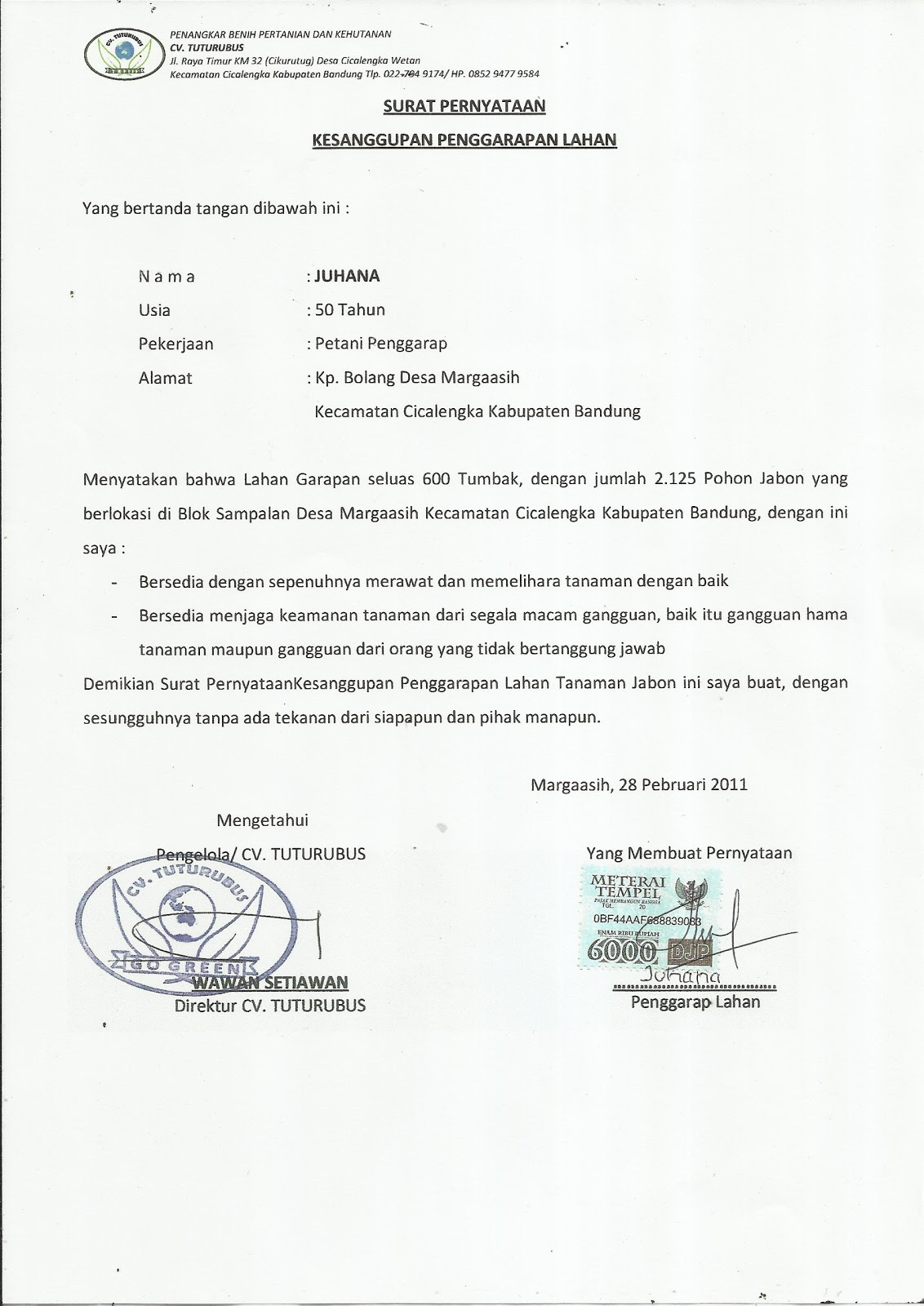 GERAKAN NUSANTARA HIJAU: Contoh Surat Pernyataan ...