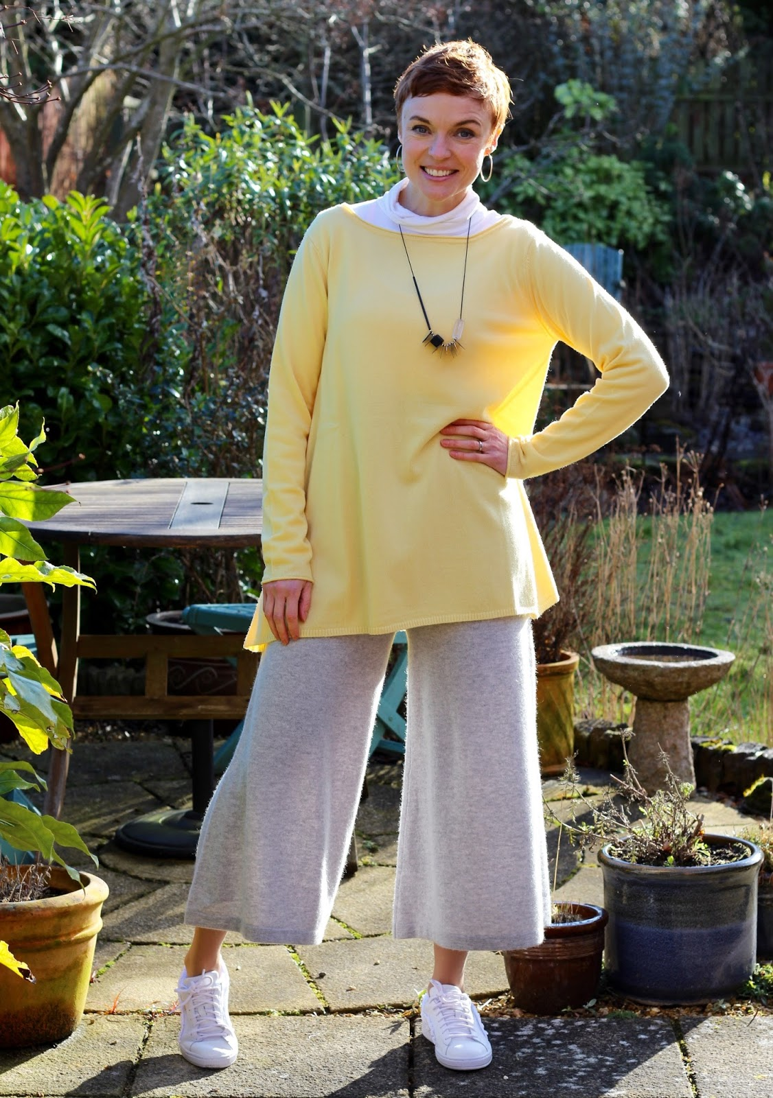 Dove Grey Cashmere Culottes and Lemon Tunic Jumper | Fake Fabulous