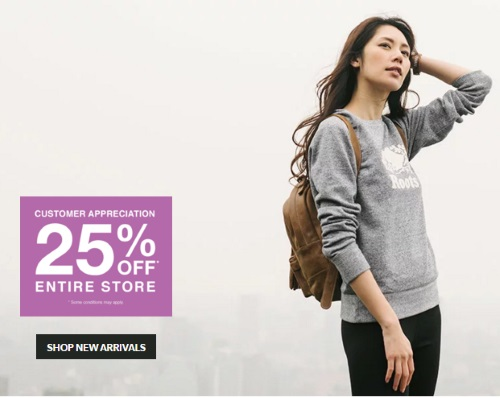 Roots 25% Off Customer Appreciation Sale