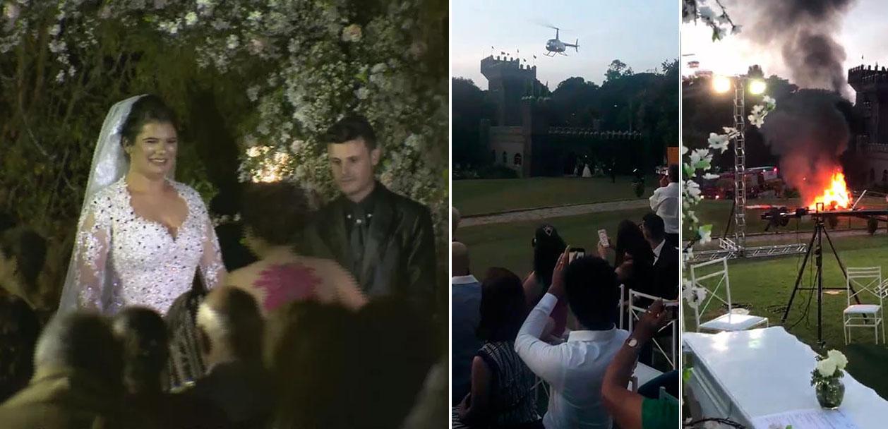 Noiva escapa de acidente de helicóptero e casa depois do susto em Vinhedo-SP