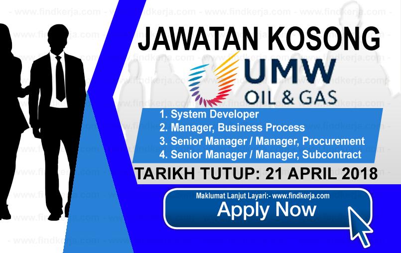 Jawatan Kerja Kosong UMW Oil & Gas Berhad logo www.findkerja.com april 2018