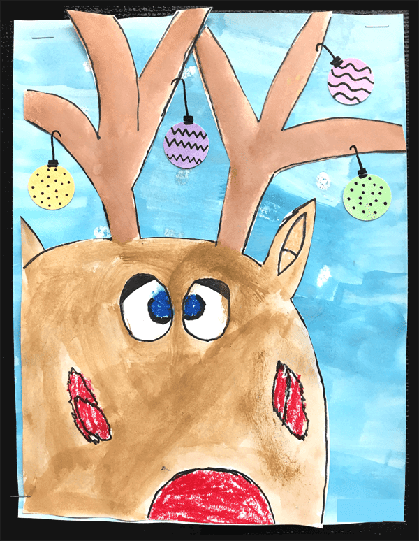 Christmas Art for Kids. Need some inspiration? I have lots of beautiful art ideas for kids, including the sweetest Christmas card. #gradeonederful #reindeerart #christmas #christmasart #christmasartforkids