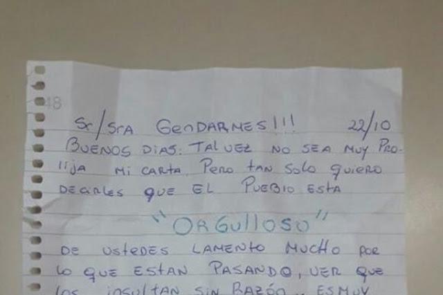 """""""Orgullo nacional"""" la polémica carta escrita para los gendarmes que se viralizó en las redes"""