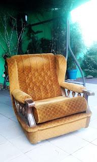 fotel uszatek brązowy z PRL