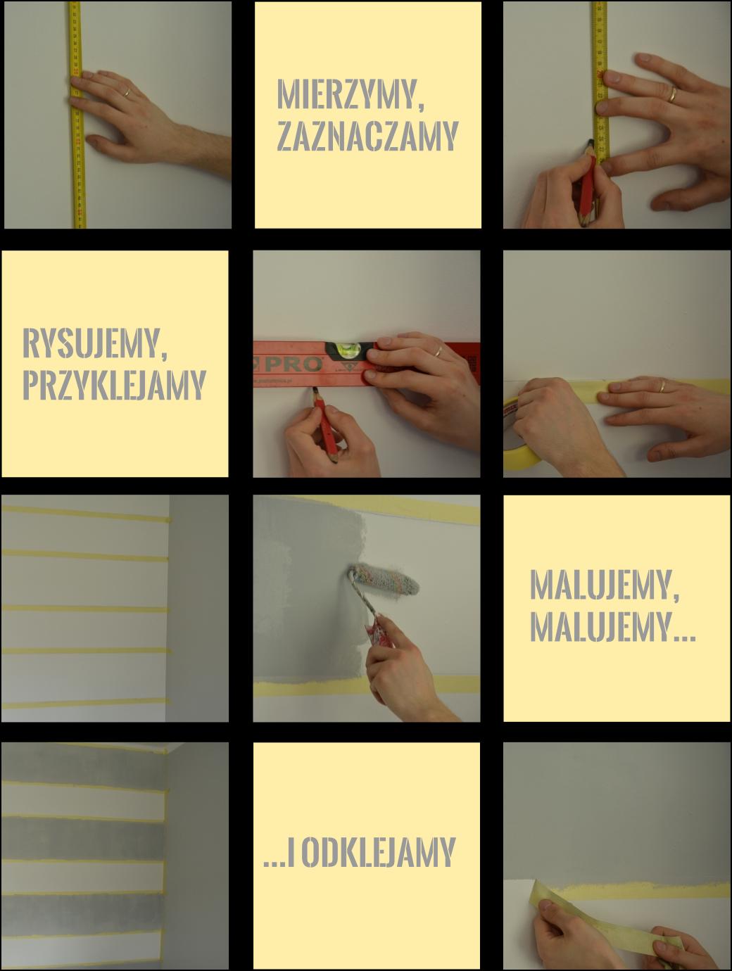 jak namalować pasy na ścianie tutorial krok po kroku