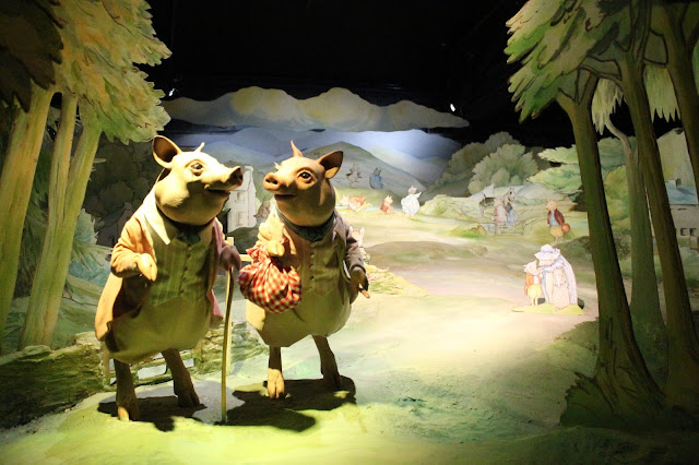 The Tale of Pigling at Beatrix Potter Exhibition in The Lake District lifelike figures of Beatrix Potter pigs