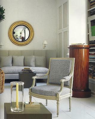 Bruce Budd home decor with convex mirror via belle vivir blog