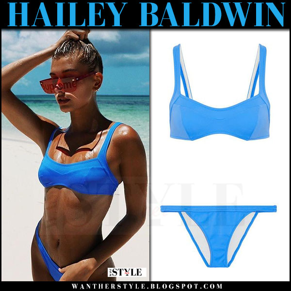 Hailey Baldwin in blue bikini with red sunglasses what she wore july 11 2017 beach babe style