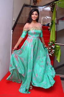 Anisha Ambrose sizzles in cute Green Anarkali Dress at F Club Saloon Launch 30 April 2017