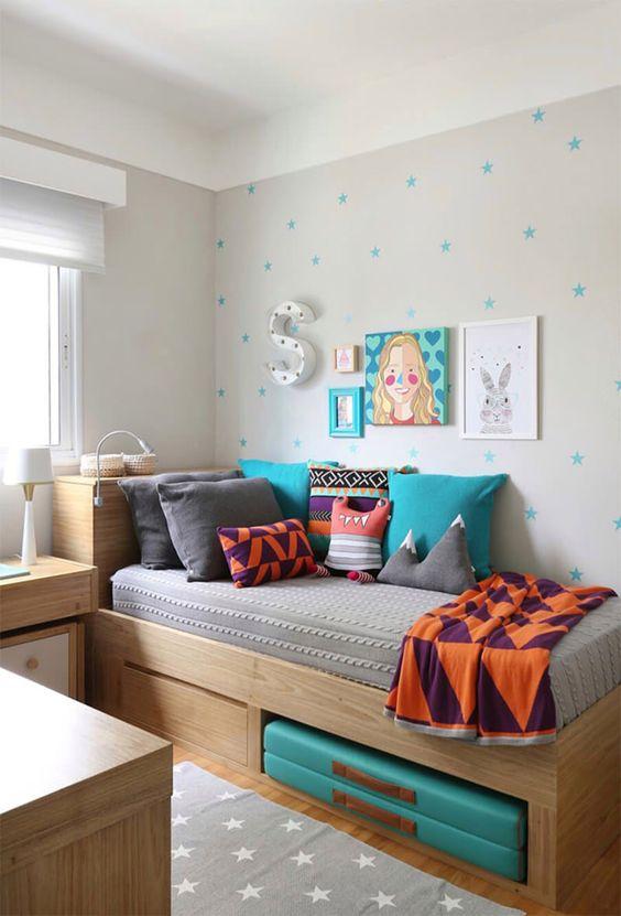 quarto para menina azul, branco e cinza