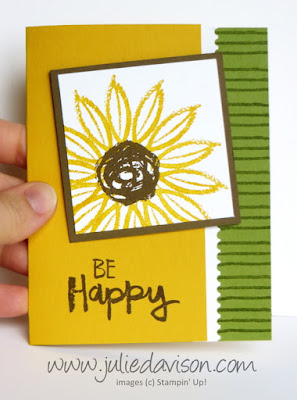 Stampin' Up! Paint Play Sunflower Card ~ 2017-2018 Annual Catalog ~ August 2017 Stamp of the Month Club Card Kit ~ www.juliedavison.com/clubs